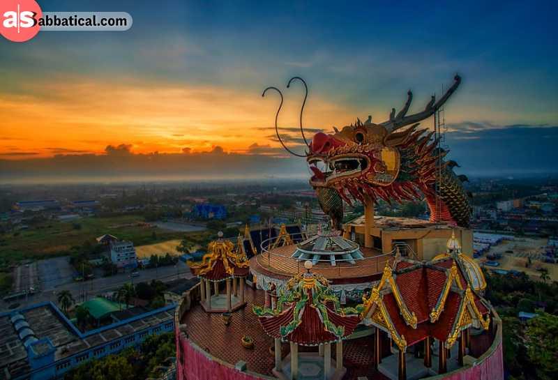 Sunset from Wat Samphran Dragon Temple