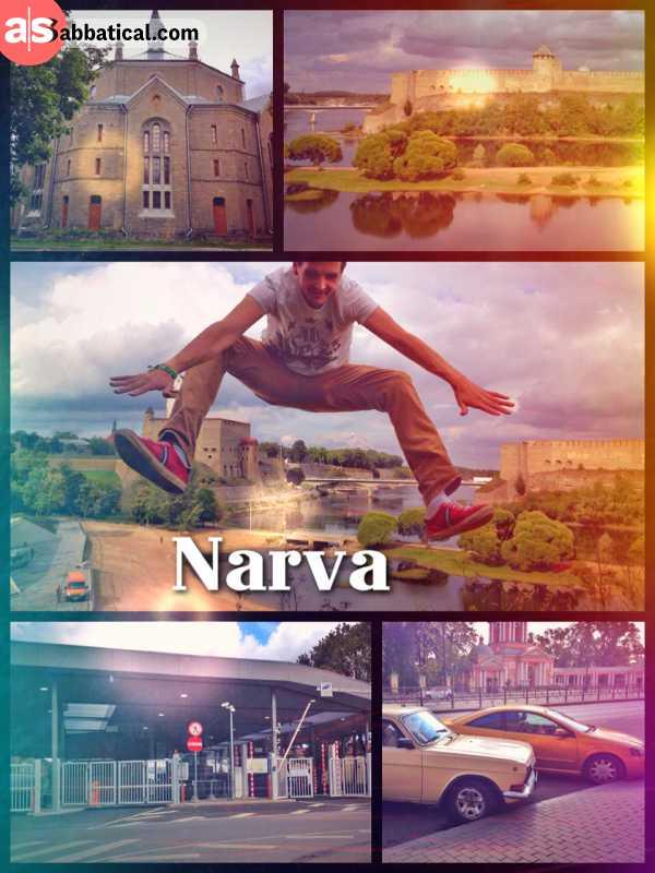 Narva (Russia > Estonia) - crossing the border from Russia to Estonia over the bridge