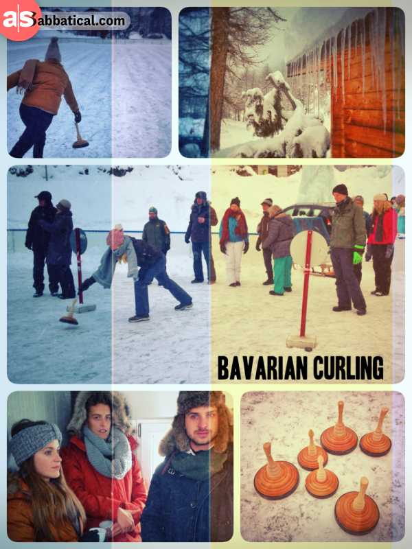 Bavarian Curling - throwing the stocks on the ice