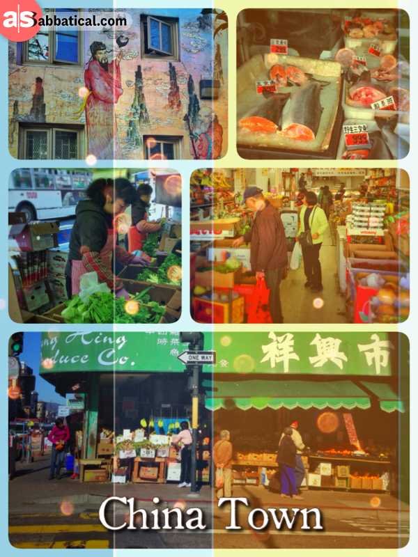 Chinatown - a busy and bustling district with loud street markets in the heart of San Francisco