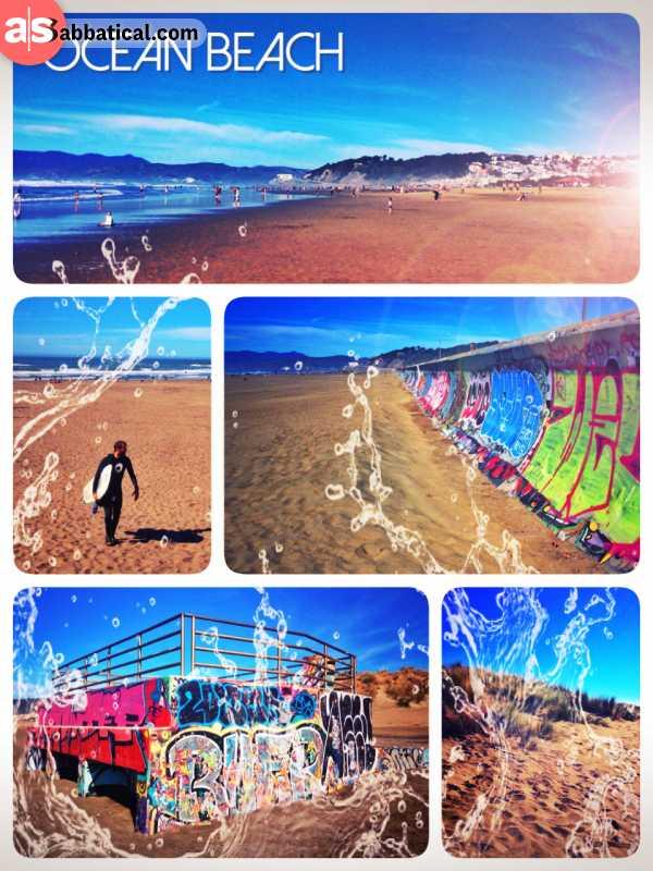 Ocean Beach - cycling across the cify of San Francisco to enjoy a walk on the beach of the Pacific Ocean