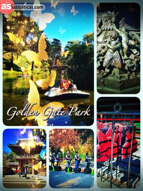 Golden Gate Park - riding the bicycle through the park and enjoying the warm winter sun in San Francisco