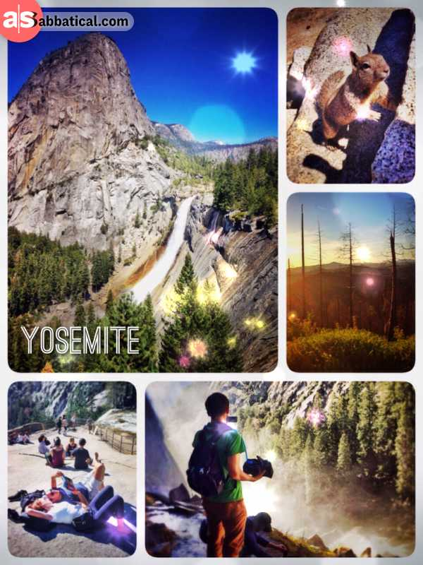 Yosemite National Park - climbing up the trails and gazing down the huge waterfall into the valley
