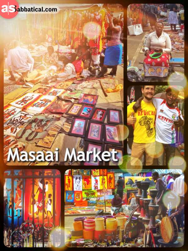 Maasai Market - having fun with a sales agent and some trader at the largest tourist market