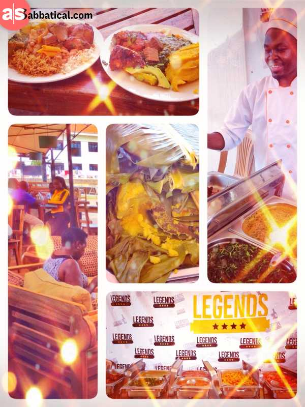 Legends Sports Bar - enjoying delicious national dishes like Matoke with Groundnut Sauce