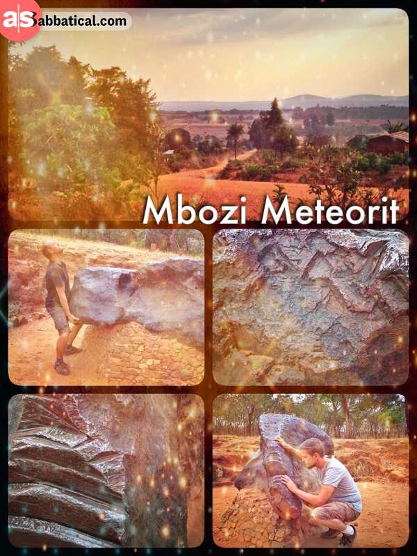 Mbozi Meteroite - inspecting one of the world's largest meteorite and unsuccessfully trying to lift it