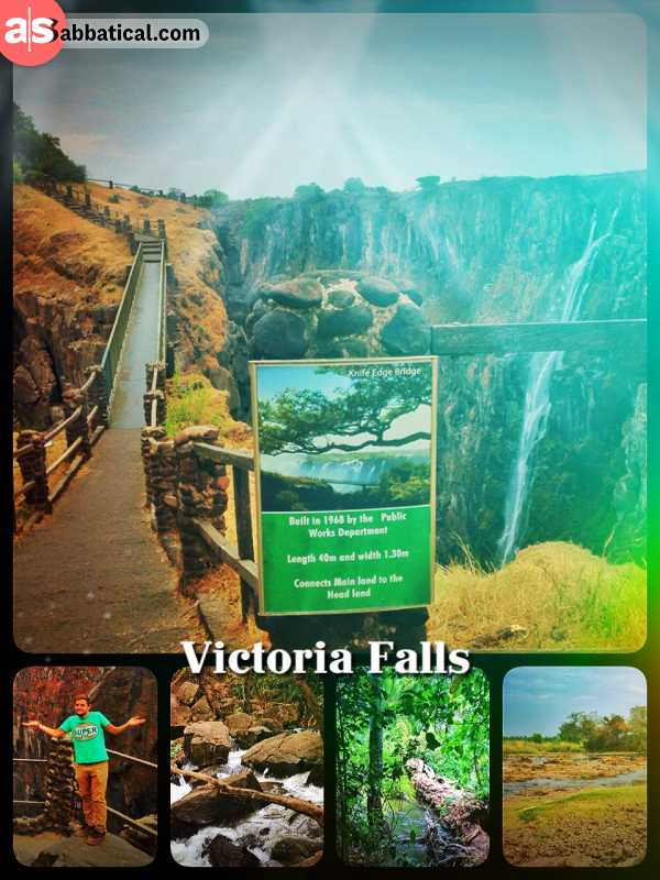 Victoria Falls - off season at the most touristic spot in Africa, only a little stream of water