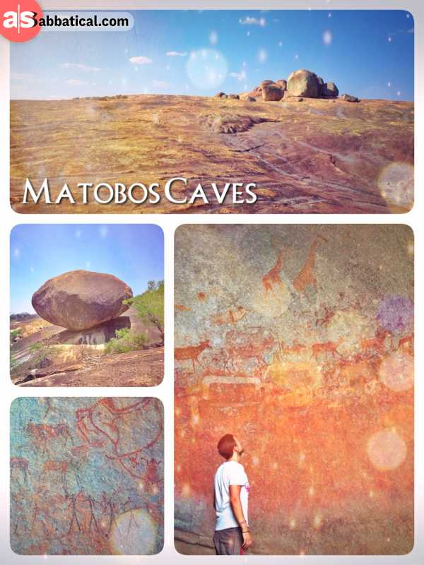 Matobo Hills - exploring only few of the thousands of stone- and iron-age's cave paintings
