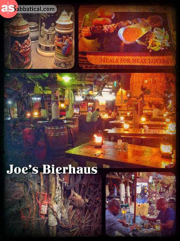 Joe's Beer House - exquisite restaurant with delicious Game meat, heavy decorated with colonial stuff
