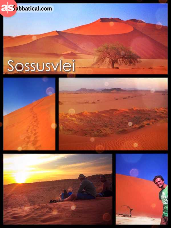 Sossusvlei Dune - climbing up and down the soft sandy dunes in the heart of the hot Namib Desert