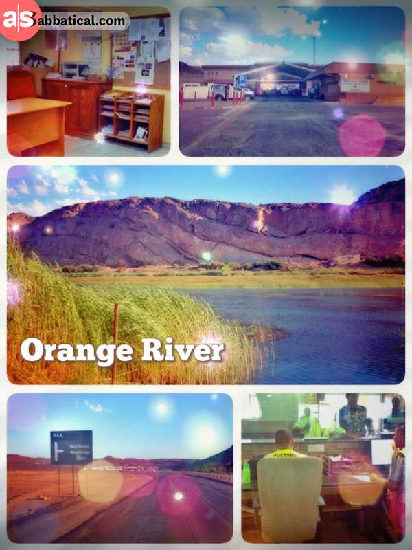 Orange River - crossing the border to South Africa through the greenest oasis I have seen in Namibia