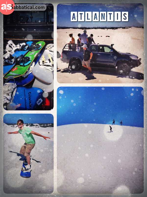 Atlantis - Sandboarding - standing on a snowboard in South Africa - and riding down a huge dune of white sand