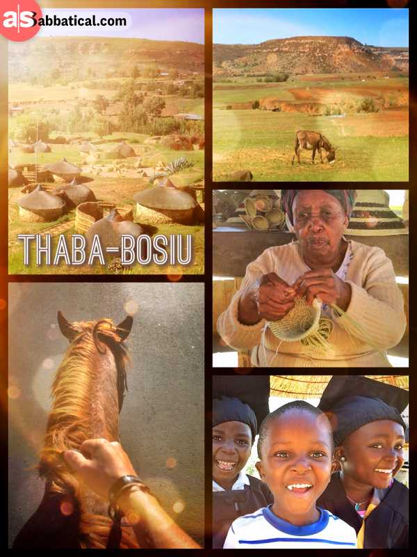 Thaba Bosiu - Cultural Village - talking to school kids and riding a horse around the historic hills of Lesotho