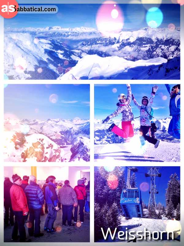 Weisshorn - amazing panoramic views from the highest mountain peak in the Arosa ski resort