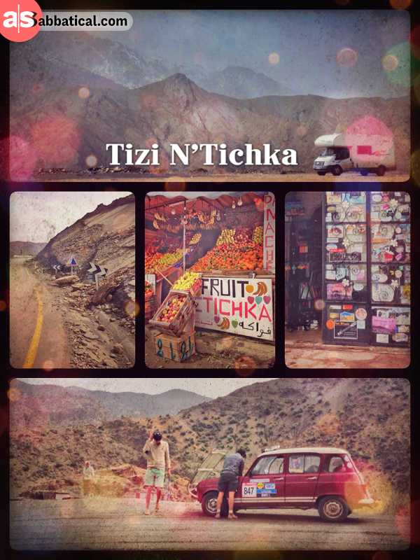 Tizi N'Tichka - having a quick pitstop on the mountain pass restaurant in the Atlas mountains