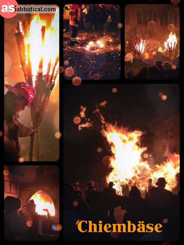 Chiembäse Liestal - running with burning bunfires through the narrow gate and city of Liestal
