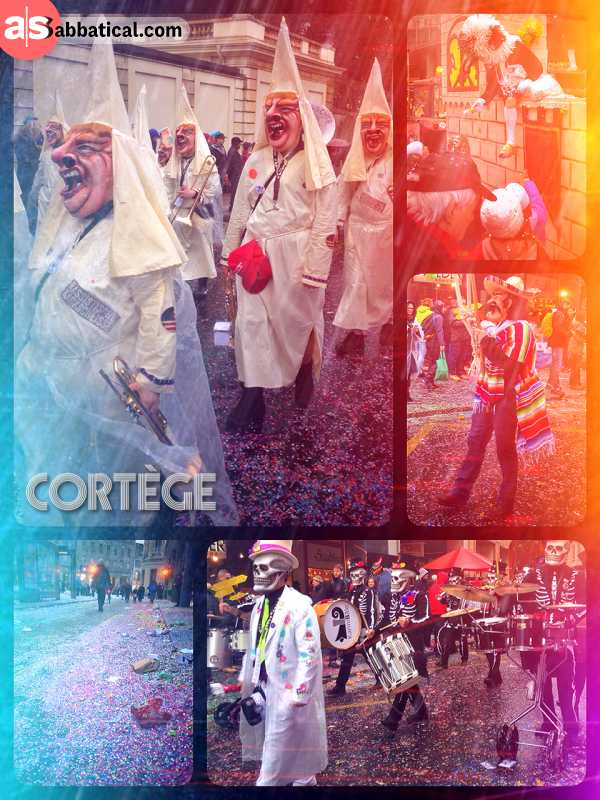 Cortège (Fasnachtsumzug) - only at the Carnival Basel: people dress up as KKK to make a political point