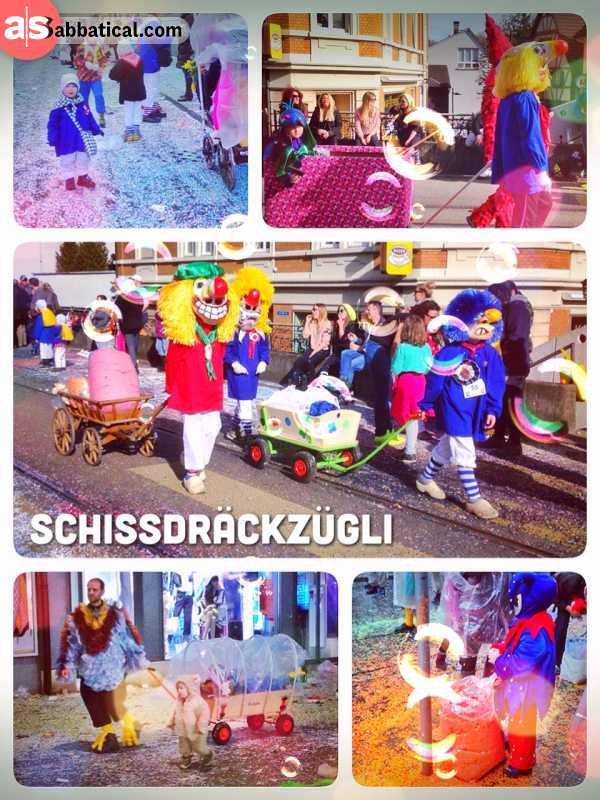 Schissdräckzügli - walking in a small group, mostly with children, along the carnival parade