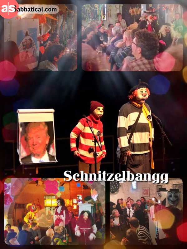 Schnitzelbangg - listening to troubadour, singing funny satire about Trump and other politics