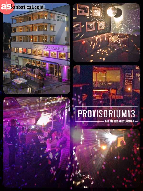 Provisorium 13 - main location of the Arosa Electronica in a temporary hotel, restaurant and club