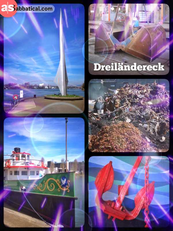 Dreiländereck - where the three countries Switzerland, Germany and France meet at the Rhine River