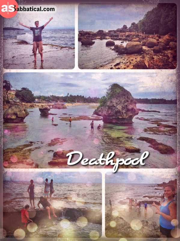 Deathpool - where the South China Sea is splashing against black volcanic rocks