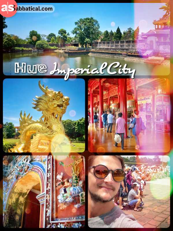 Hue Imperial City - protected by a thick wall and moat lies the Purple Forbidden City