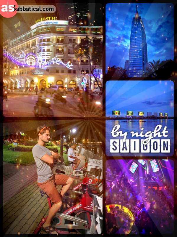 Saigon by night - dancing with locals and then walking across the illuminated city