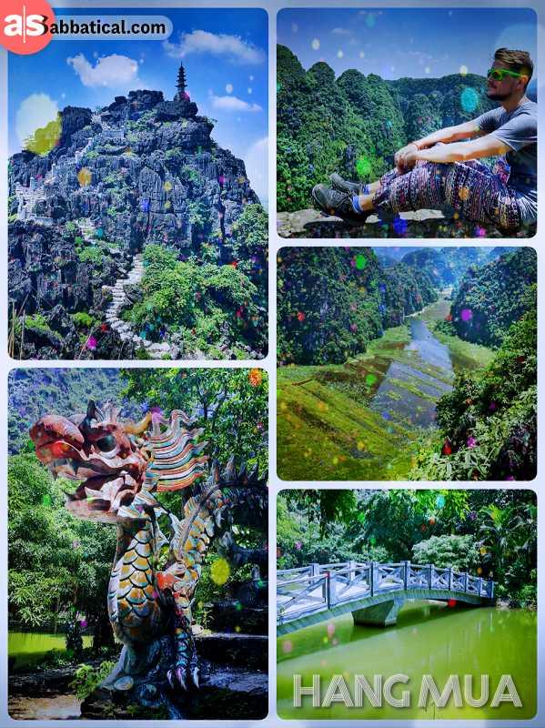 Hang Mua Cave - enjoying the view over Ninh Binh after climbing up the mountain