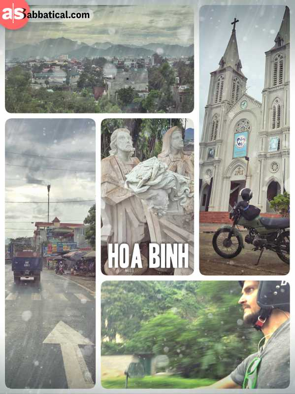 Hoa Binh - quick stop on the ride from Hanoi to Laos through heavy rainfalls