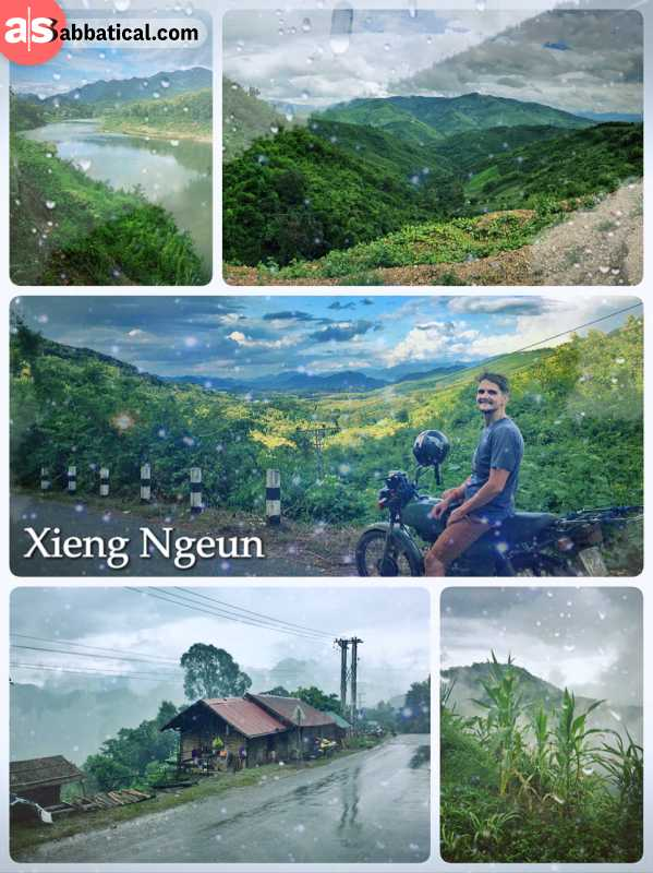 Xiang Ngeun - enjoying the last few miles on the road before Luang Prabang