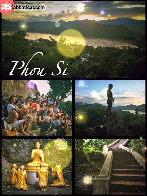 Mount Phou Si - enjoy a panoramic view and sunset after quite a steep ascent