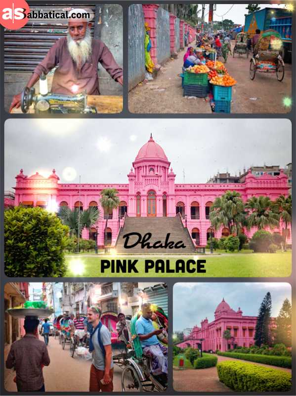 Pink Palace Dhaka - a huge aristocrat's building coloured all in pink called Ahsan Manzil