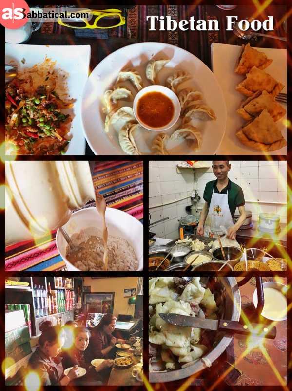 Tibetan Cuisine & Food - eating momo, dumplings, yak butter tea and a lot of meat