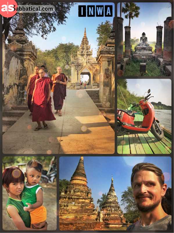 Inwa - ancient capital of the Burmese empire with monasteries and pagodas