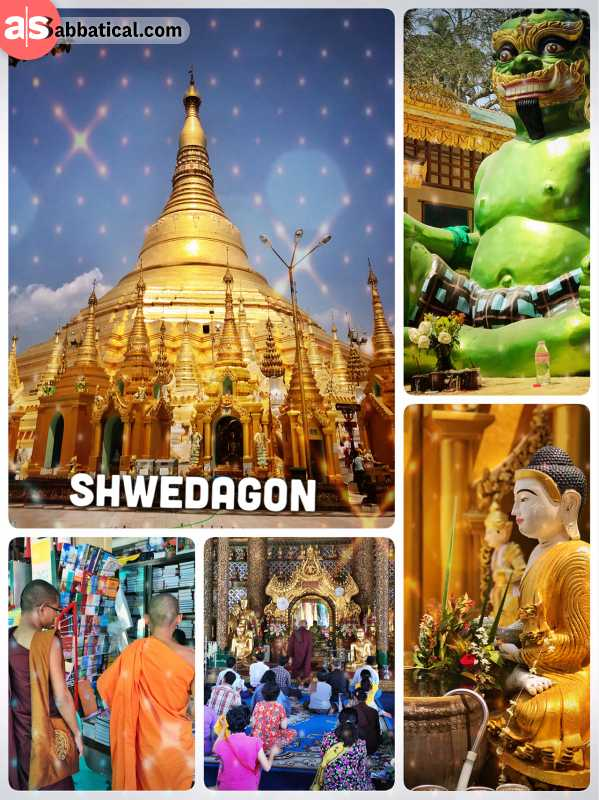 Shwedagon Pagoda - Buddhist's most sacred place in Myanmar, overlooking Yangon city