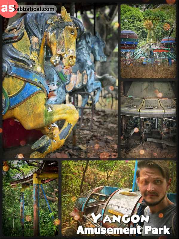 Yangon Amusement Park - exciting urban exploration in a creepy abandoned park with wild dogs