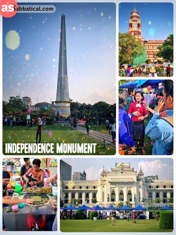 Independence Monument - green park celebrating Myanmar's independence from Great Britten