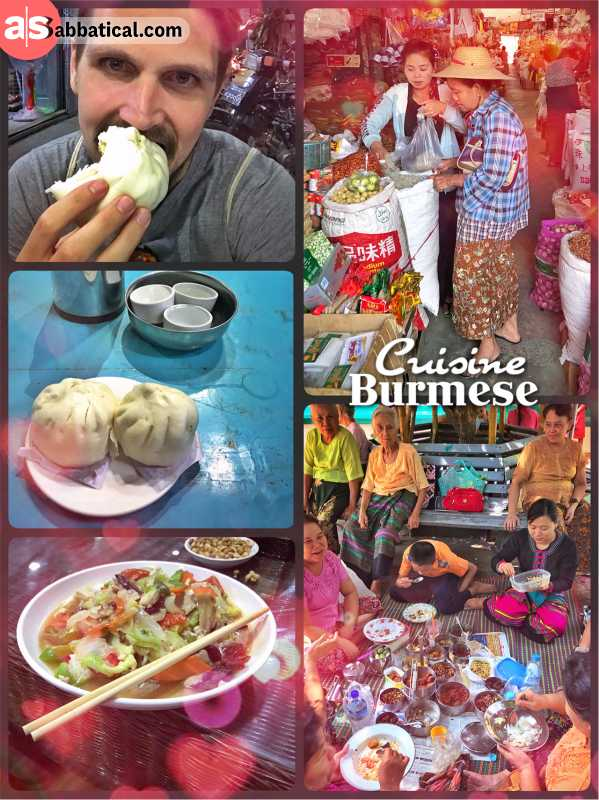 Burmese Cuisine - a healthy mix of white rice, meat, fresh vegetables and fruits
