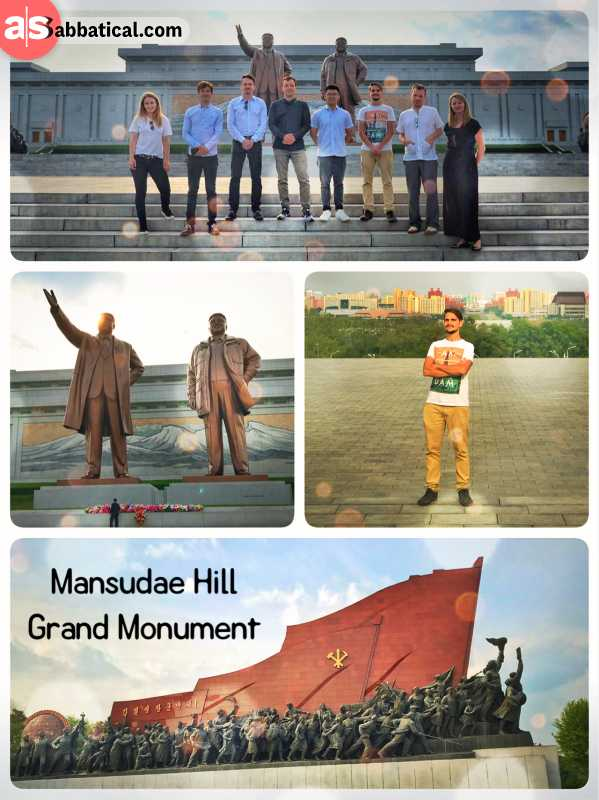 Mansudae Hill Grand Monument - Bronze statues of Kim Il-Sung, Kim Jong-Il and 229 revolutionary soldiers