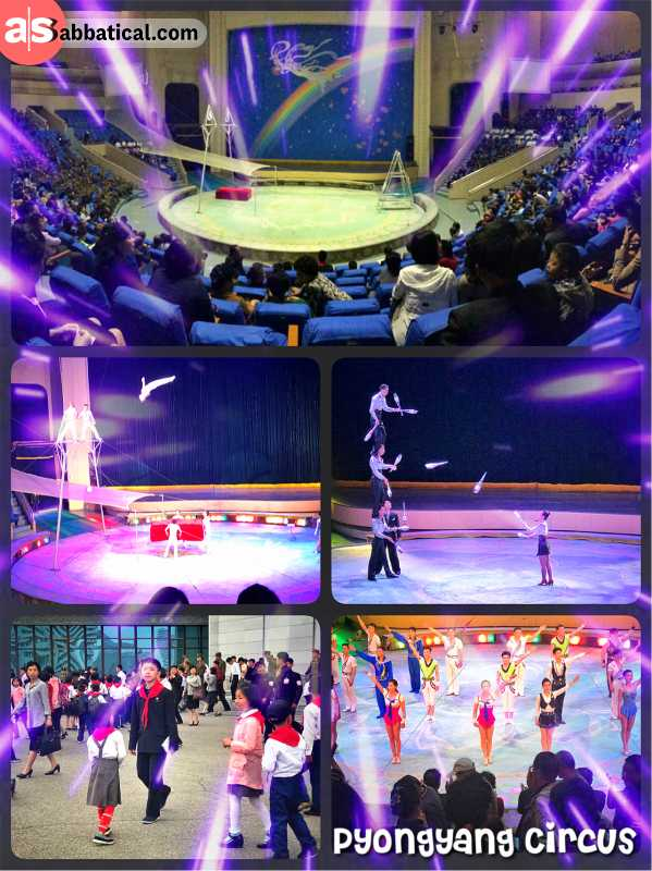 Pyongyang Circus Theater - watching acrobats flying through the arena and extreme joggling on stage