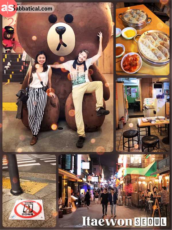 Itaewon - hip expat district initially formed by the US military personnel in Seoul