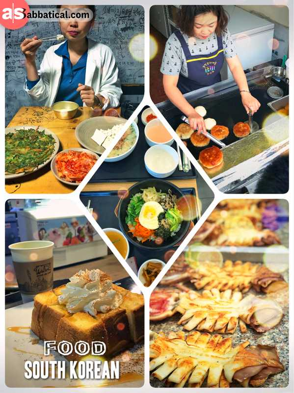 South Korean Food - a lot of rice, some vegetables and a selection of meat and sea food