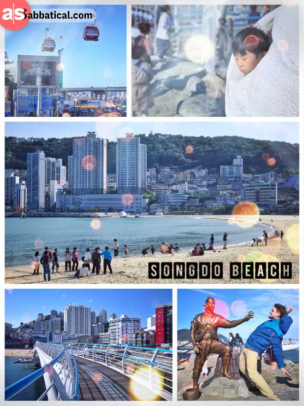 Songdo Beach - crowded beach south of Busan with an air cruise Gondola and a skywalk