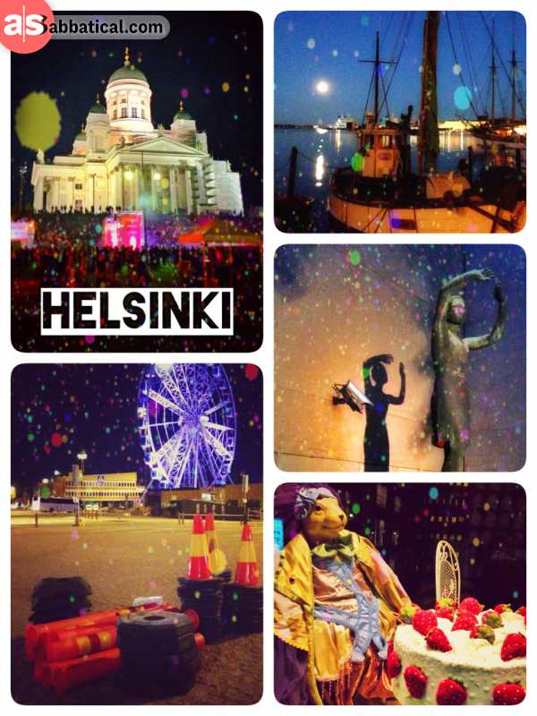 Helsinki by night - eating bear while the others run