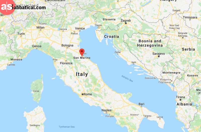 San Marino on the map