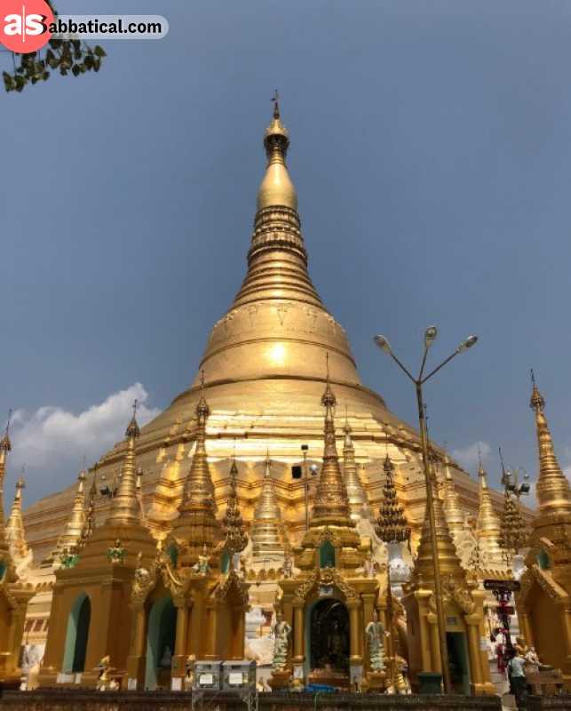 Exploring temples in Yangon