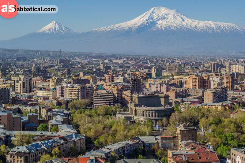 Yerevan is the capital of Armenia, and you can even see the snowy peaks of Mount Aratat from the city centre.