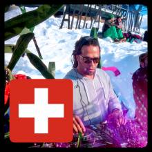 DJ playing live in the mountains at the Arosa Electronica