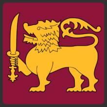 Golden lion on the red flag of Sri Lanka